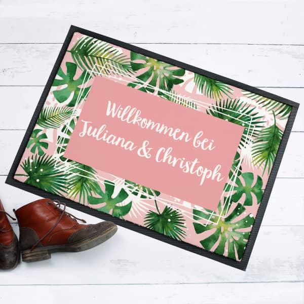Tropical-Fußmatte mit Wunschtext