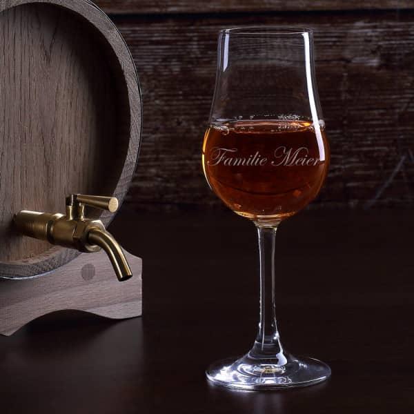 Destillatglas mit Gravur Ihres Wunschnamens in feiner Schreibschrift