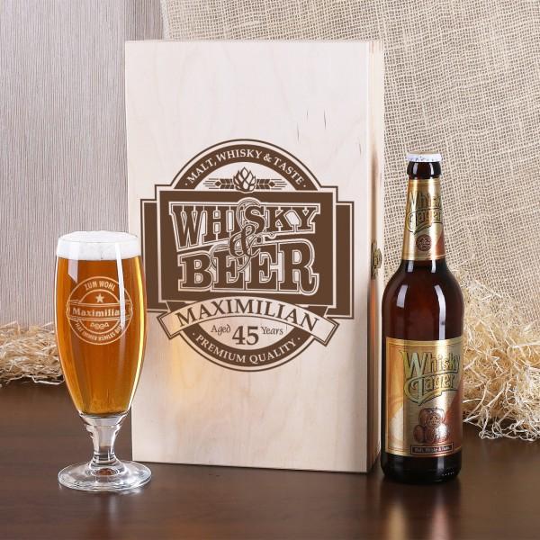 Geschenkbox mit Pilsglas und Whisky-Bier