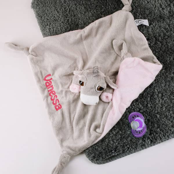 Rosa Fingerpuppen Schnuffeltuch Esel mit Namen bestickt
