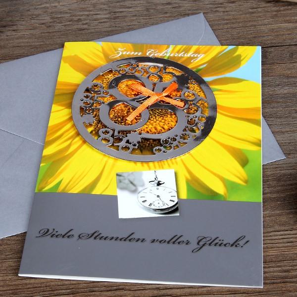 Karte zum 85. Geburtstag mit Metallschmuck