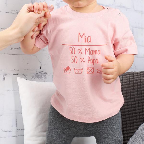 T Shirt mit Baby Waschanweisung und Namensaufdruck