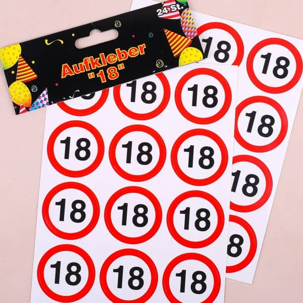 Verkehrszeichen Sticker zum 18. Geburtstag