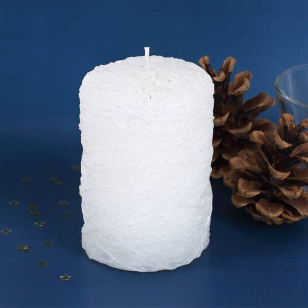 Stumpenkerze in weiß mit Glitter