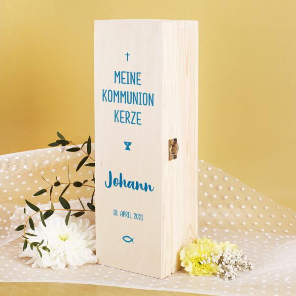 Geschenkbox für Kommunionkerze - mit Name und Datum in blau