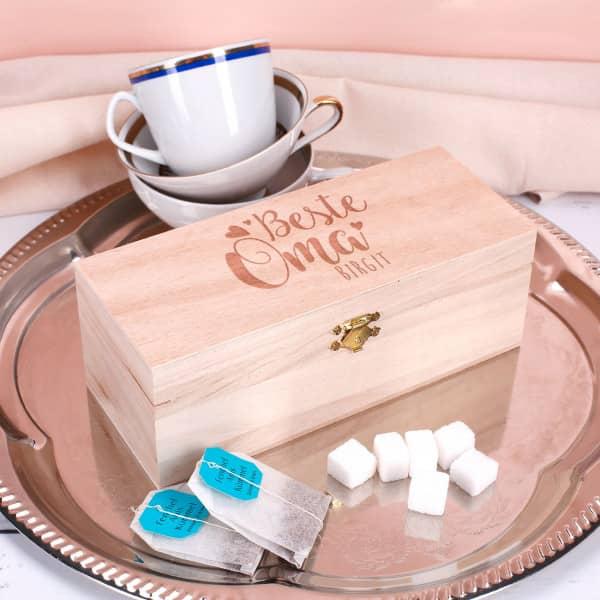 Teebox in 3 Größen Beste Oma mit Namensgravur