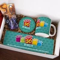 Gefüllte Geschenkbox zum 50. Geburtstag