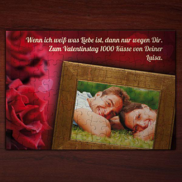 Puzzle für Verliebte mit ihrem Foto und Text