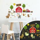 Leuchtfolienaufkleber - Auf dem Bauernhof - 30 teilig mit Name des Kindes