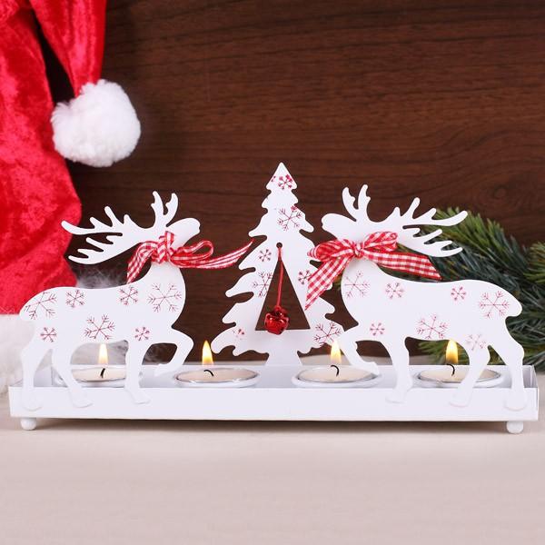Teelichthalter in weiß zu Weihnachten