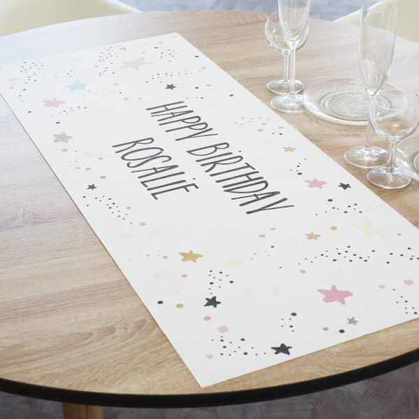 Tischläufer Happy Birthday  zum Geburtstag mit Sternen und Name