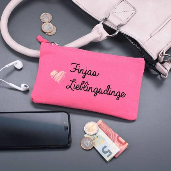 Pinke Tasche Lieblingsdinge mit Namensaufdruck