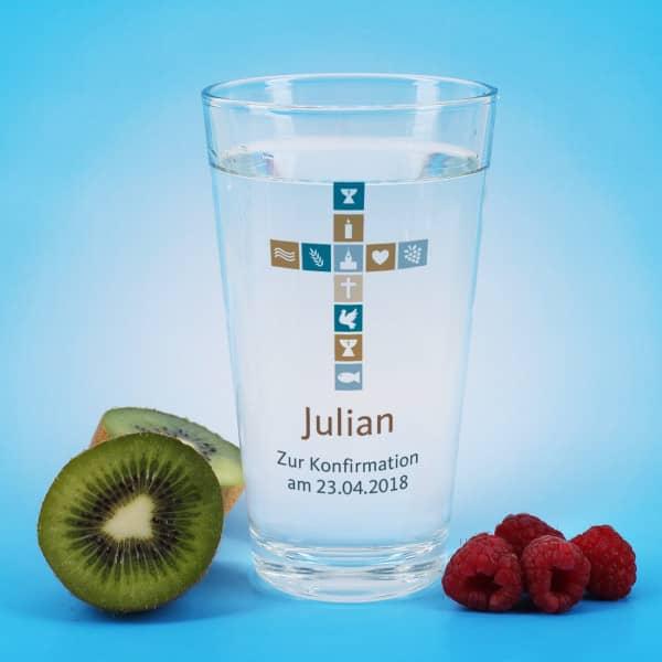 Trinkglas mit Kreuz zur Konfirmation, Kommunion oder Taufe