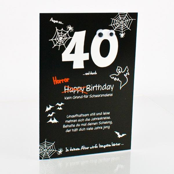 schwarze Grußkarte zum 40. Geburtstag