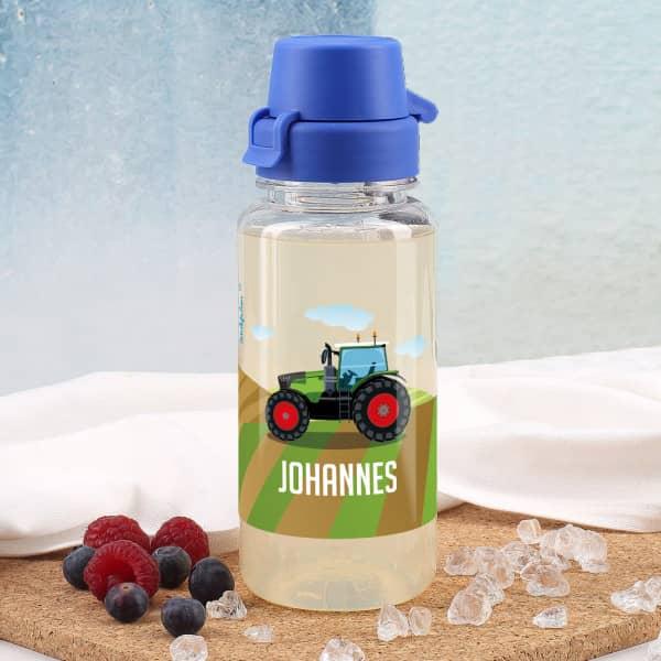 Traktor- Trinkflasche mit Name 0,4 L aus BPA freiem Kunststoff