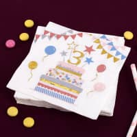 Bunte Servietten zum 3. Geburtstag