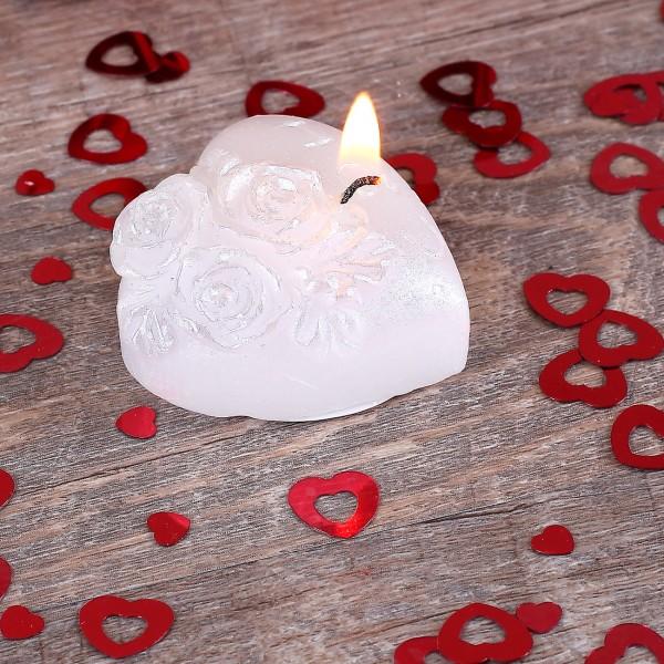 Gastgeschenk zur Hochzeit - Weiße Herzkerze mit Rosendekor, I LOVE U