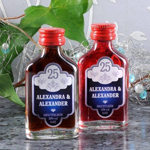 Schnapsflaschen zur Silberhochzeit