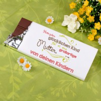 Leckere 100g Schokolade für die Mama mit Namen und Spruch