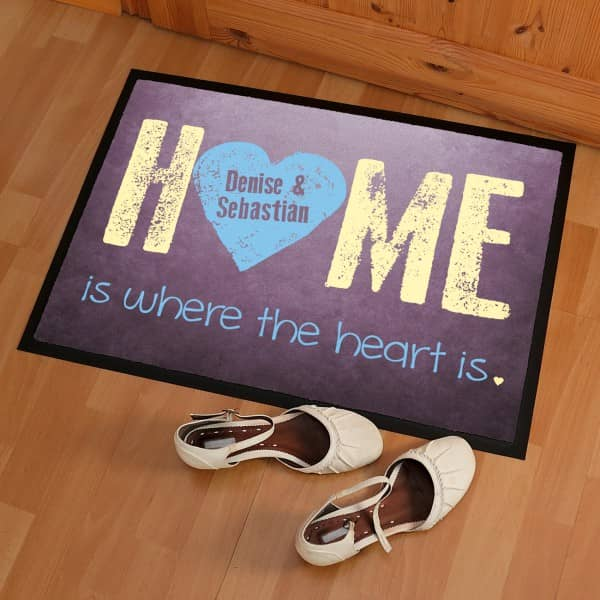 Fussmatte - Home is where the heart is - mit Name