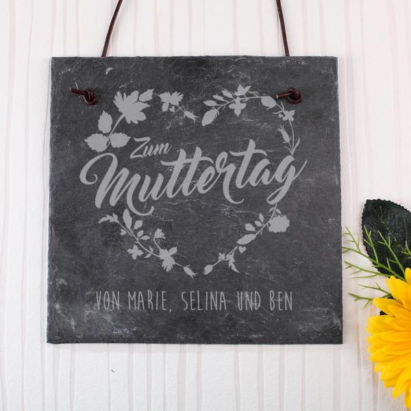 Schieferplatte zum Muttertag mit Blumenkranz und Wunschtext