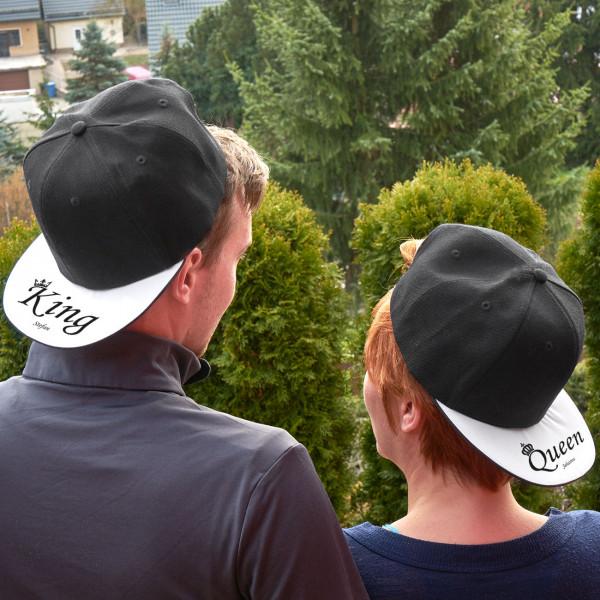 Individuellbekleidung - Basecap Set King und Queen mit Namensaufdruck - Onlineshop Geschenke online.de
