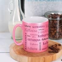Pinke Tasse mit Namensaufdruck und Metallic Effekt