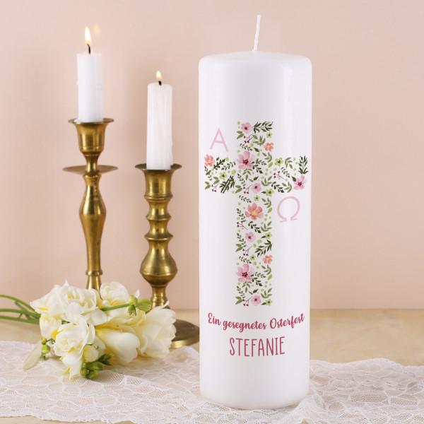 Osterkerze mit religiösem Motiv aus Aquarell Blumen mit Text und Name nach Wunsch