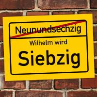 PVC-Ortsschild mit Wunschname zum 70. Geburtstag