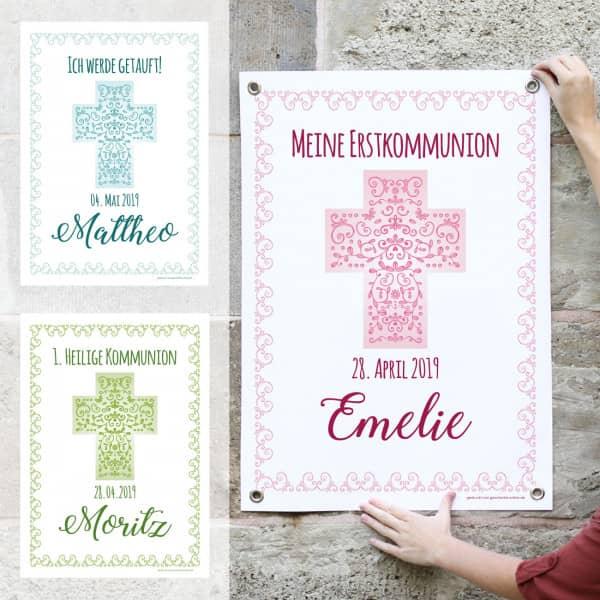 Banner zur Taufe, Kommunion oder Konfirmation