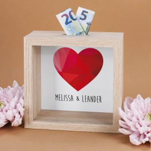 Bilderrahmenspardose für Hochzeit personalisiert
