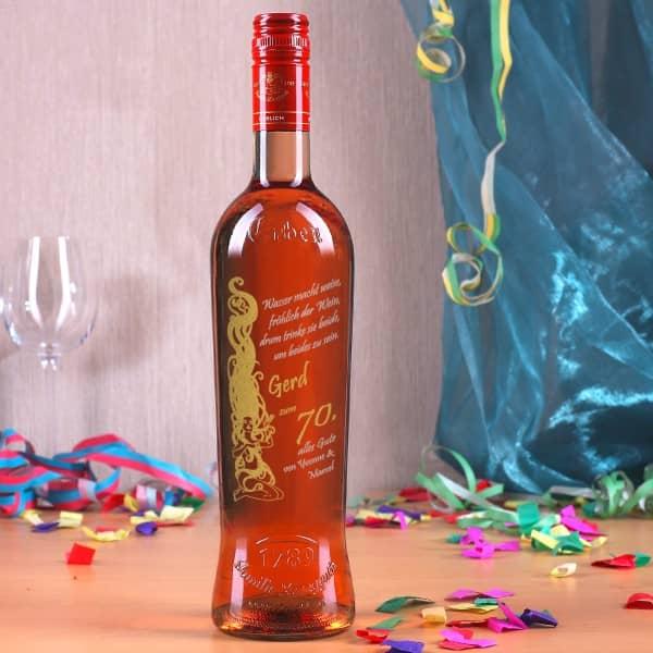 Weinflasche zum Geburtstag mit Gravur in gold und silber