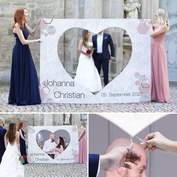 Hochzeitstradition mit Banner zum Ausschneiden