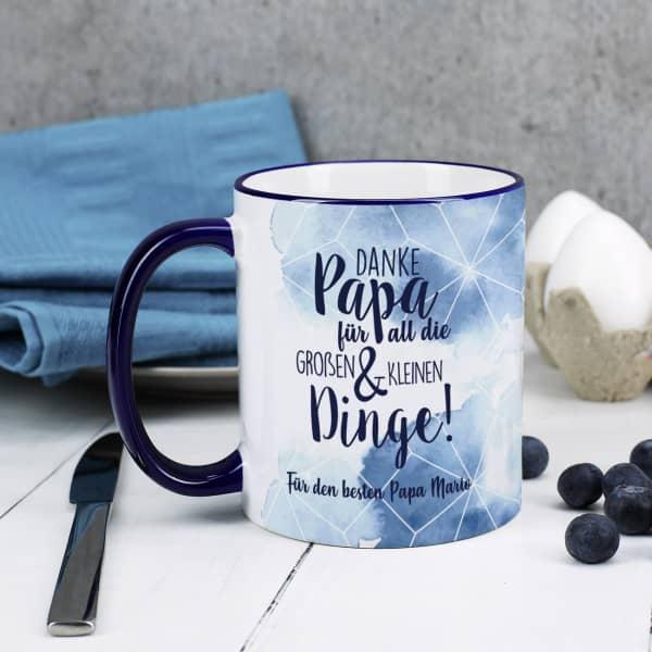 Dunkelblaue Tasse - Danke Papa für all die großen und kleinen Dinge