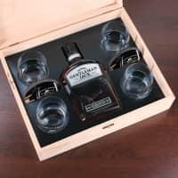 Whiskybox mit 4 Gläsern, Untersetzern und Jack Daniels Whiskey