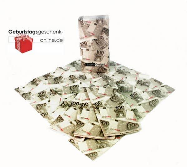 Taschentücher bedruckt mit Euroscheinen