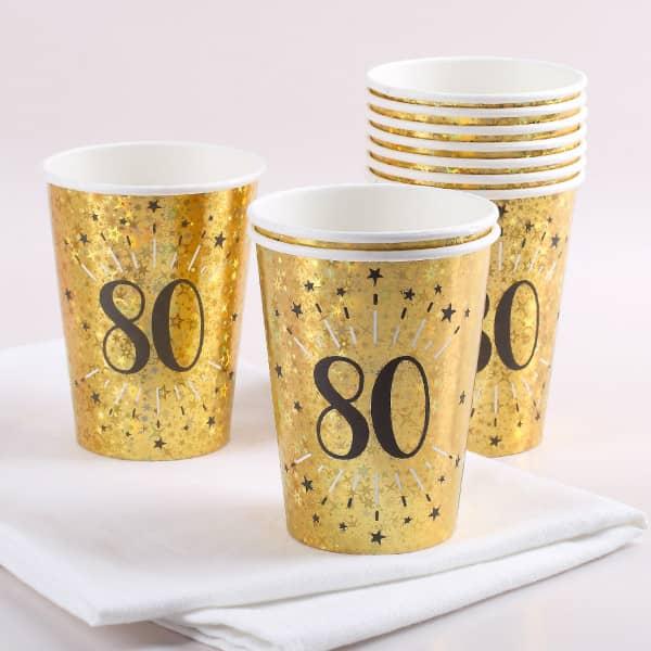 Goldene Pappbecher im Set zum 80. Geburtstag