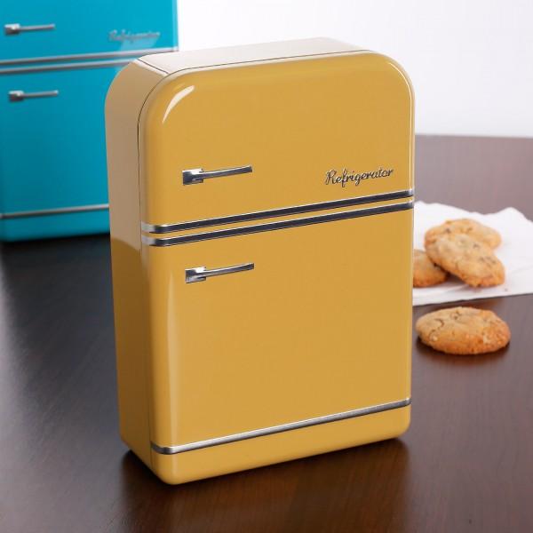 Gelbe Retro-Blechdose Kühlschrank