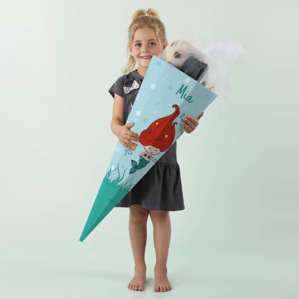 Schultüte für Mädchen mit kleiner Meerjungfrau und Wunschname