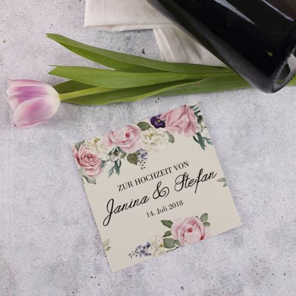 Flaschenaufkleber zur Hochzeit mit Namen