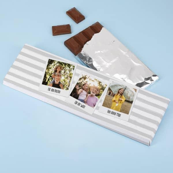 Personalisierte Schokolade mit Foto und Wunschtext