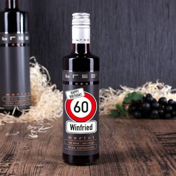 Kleiner BREE Wein zum Geburtstag mit Verkehrszeichen, Name und Alter