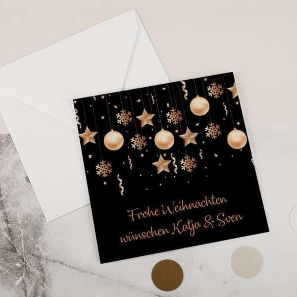 Weihnachtskarte mit Christbaumschmuck und Ihrem Wunschtext bedruckt