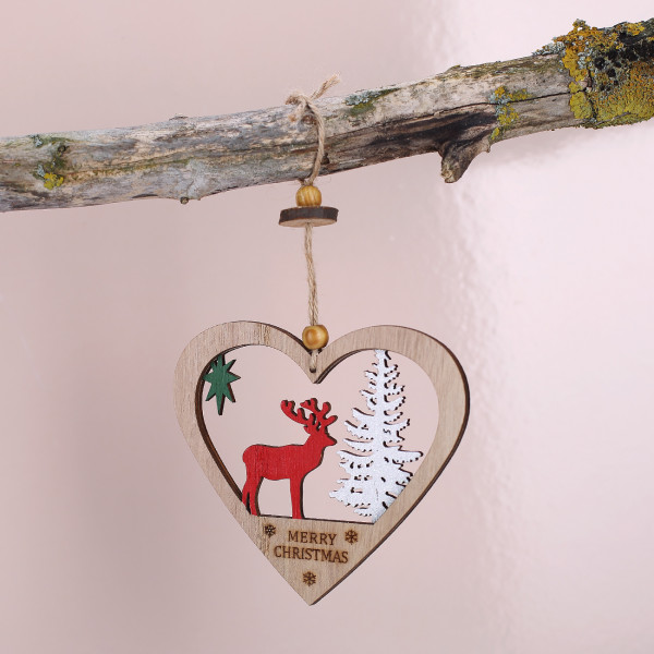 Christbaumschmuck Herz aus Holz