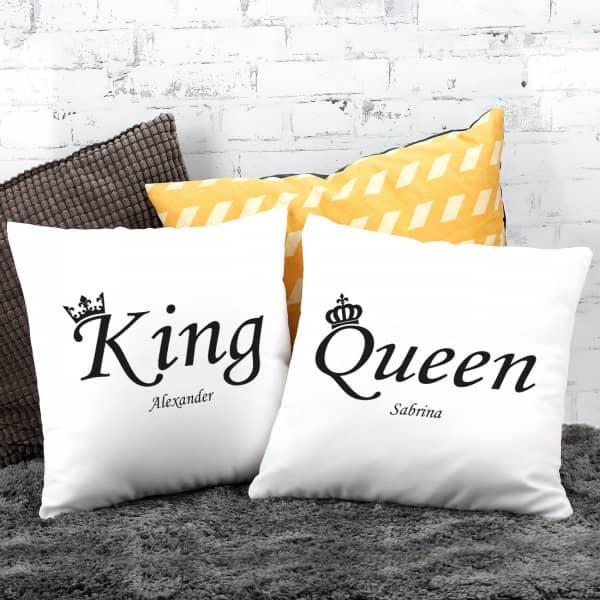 """King & Queen"" Kissenset mit Ihren Namen"