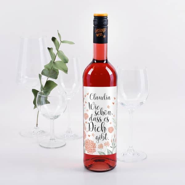 """Weinflasche """"Wie schön, dass es dich gibt"""" mit Name personalisiert"""