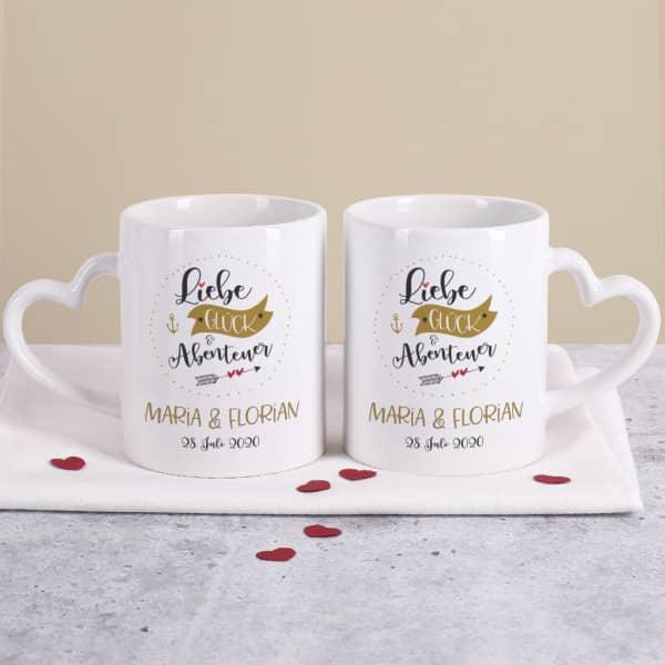 Liebe, Glück & Abenteuer - Paartassen zur Hochzeit