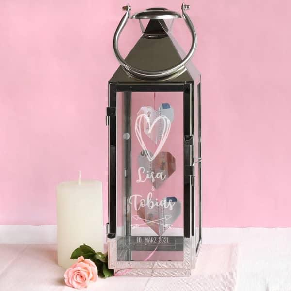 Hochzeitsgeschenk gravierte Laterne mit Herz, Namen und Datum, 40 cm hoch