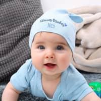 Hellblaue Babymütze - Kleiner Bruder