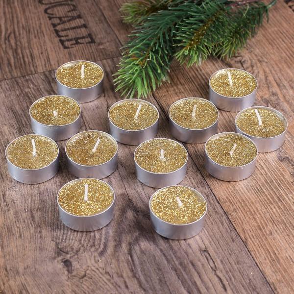 Teelichter in Gold mit Glitter